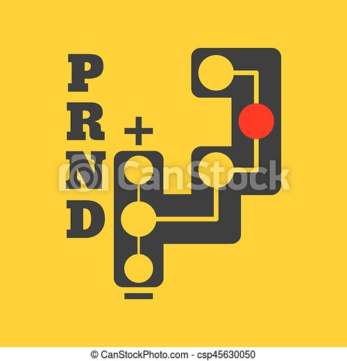 Automatic transmission flat icon on background. Vector illustration. Isolated. - csp45630050