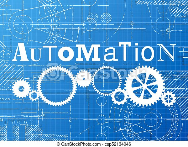 Automation blueprint tech drawing automation sign and gear eps automation blueprint tech drawing csp52134046 malvernweather Images