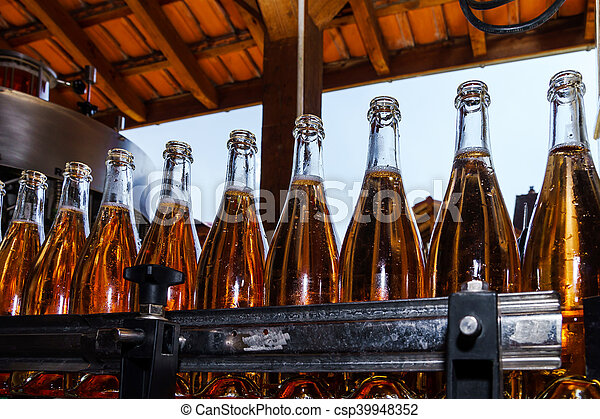 Automation bottling line for produce champagne in Alsace - csp39948352