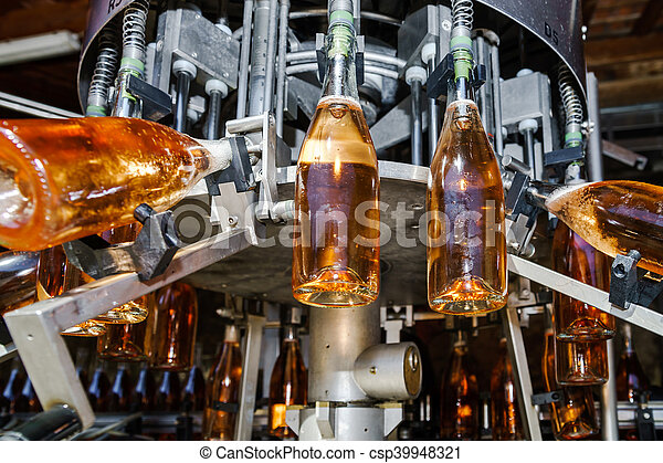 Automation bottling line for produce champagne in Alsace - csp39948321