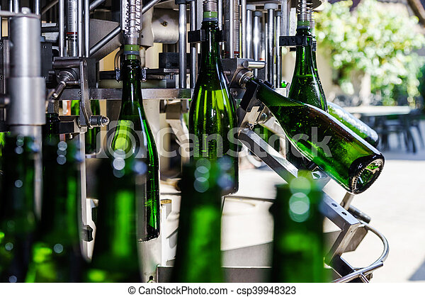 Automation bottling line for produce champagne in Alsace - csp39948323