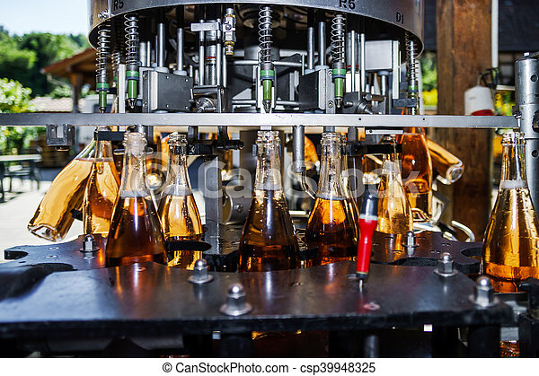 Automation bottling line for produce champagne in Alsace - csp39948325