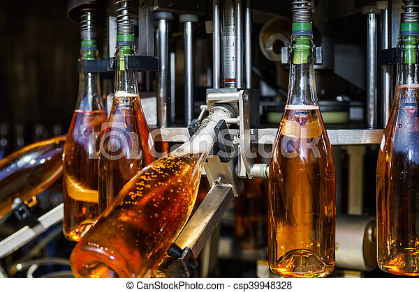 Automation bottling line for produce champagne in Alsace - csp39948328