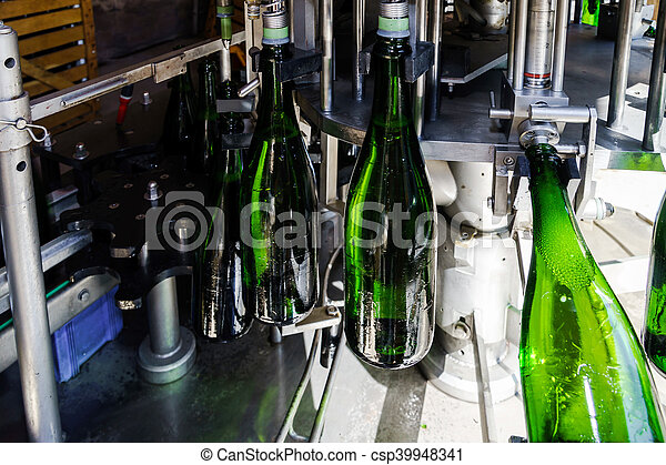 Automation bottling line for produce champagne in Alsace - csp39948341
