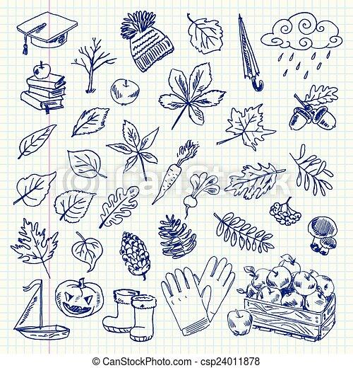 automne, articles, dessin - csp24011878
