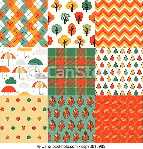 automne, automne, ensemble, arrière-plans, seamless - csp73615983