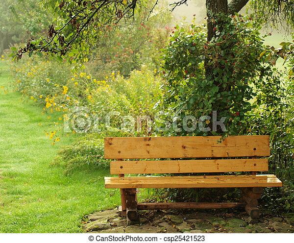 automne, banc jardin - csp25421523