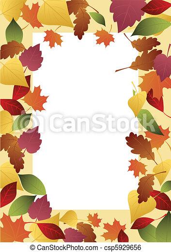 automne, cadre, feuilles - csp5929656