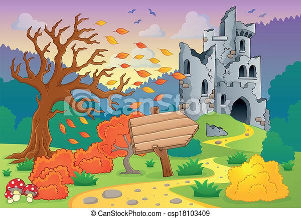 automne, château, thème, ruines, 4 - csp18103409