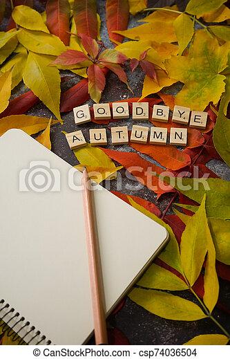 automne, composition, notebook., feuille - csp74036504