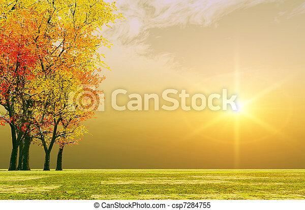 automne, coucher soleil - csp7284755