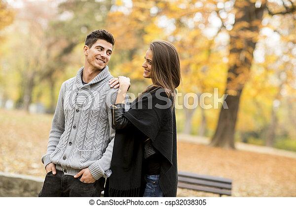 automne, couple, parc, aimer - csp32038305