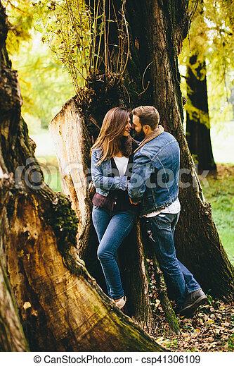 automne, couple, parc, aimer - csp41306109