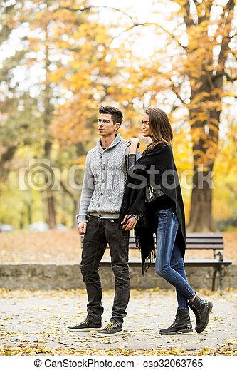 automne, couple, parc, aimer - csp32063765