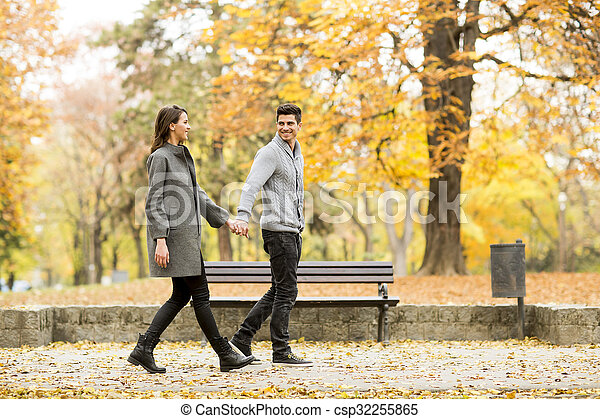 automne, couple, parc, aimer - csp32255865