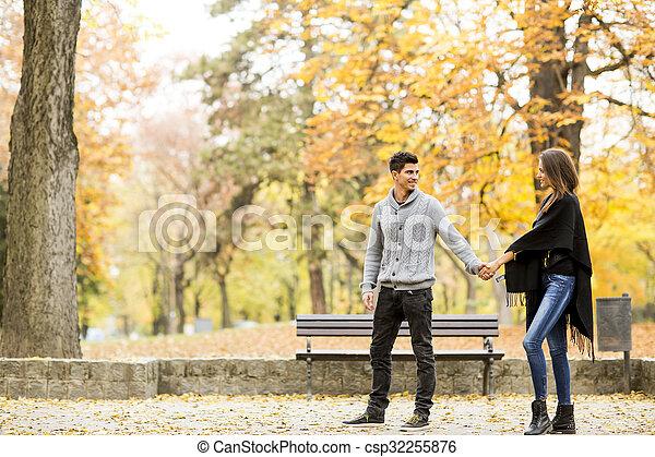 automne, couple, parc, aimer - csp32255876
