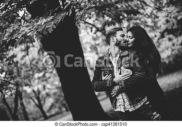 automne, couple, parc, aimer - csp41381510