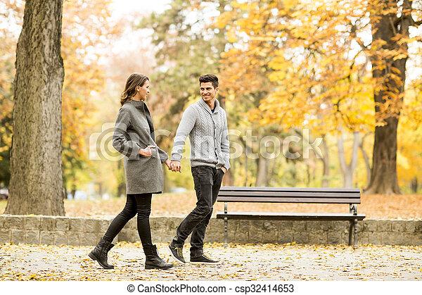 automne, couple, parc, aimer - csp32414653