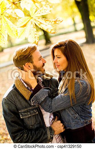 automne, couple, parc, aimer - csp41329150