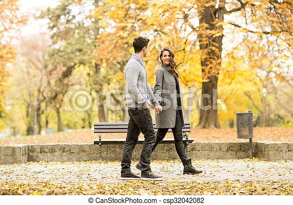 automne, couple, parc, aimer - csp32042082