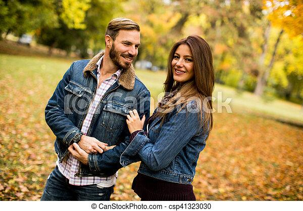 automne, couple, parc, aimer - csp41323030