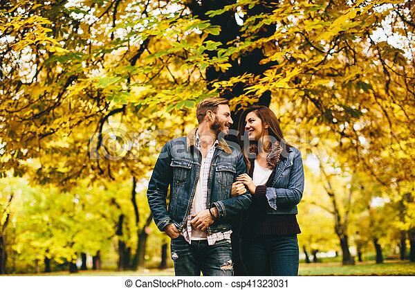 automne, couple, parc, aimer - csp41323031