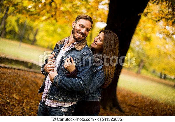 automne, couple, parc, aimer - csp41323035