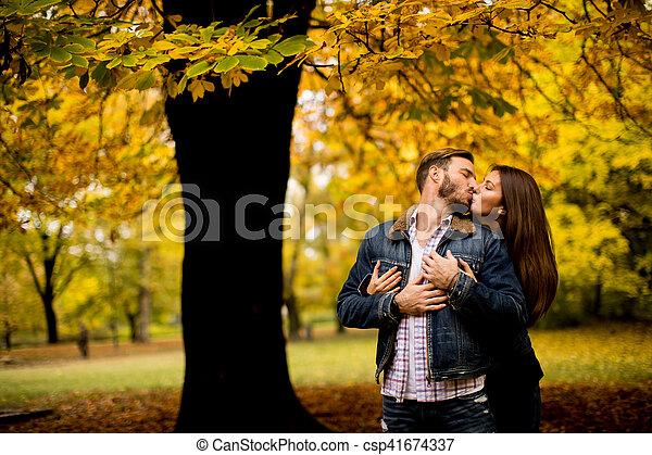 automne, couple, parc, aimer - csp41674337