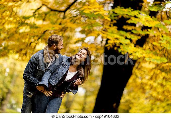 automne, couple, parc, jeune, aimer - csp49104602