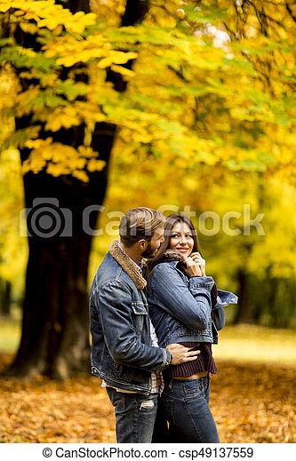 automne, couple, parc, jeune, aimer - csp49137559