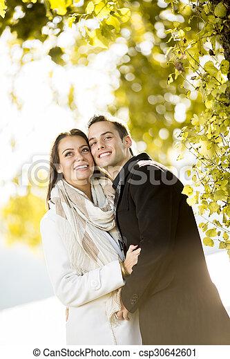 automne, couple, parc, jeune - csp30642601