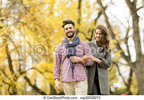 automne, couple, parc, jeune - csp32038273