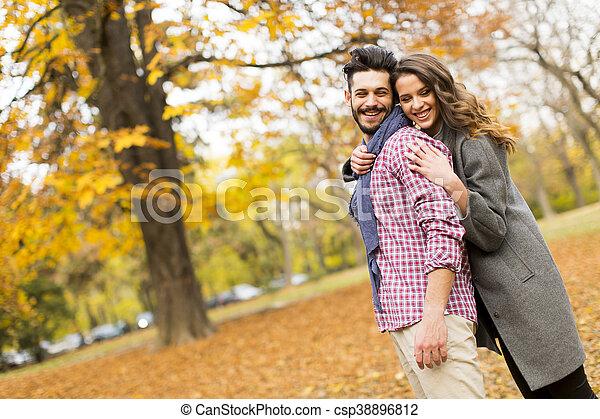 automne, couple, parc, jeune - csp38896812