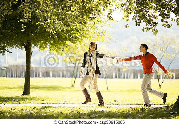 automne, couple, parc, jeune - csp30615086