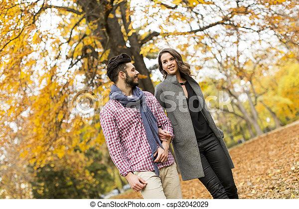 automne, couple, parc, jeune - csp32042029