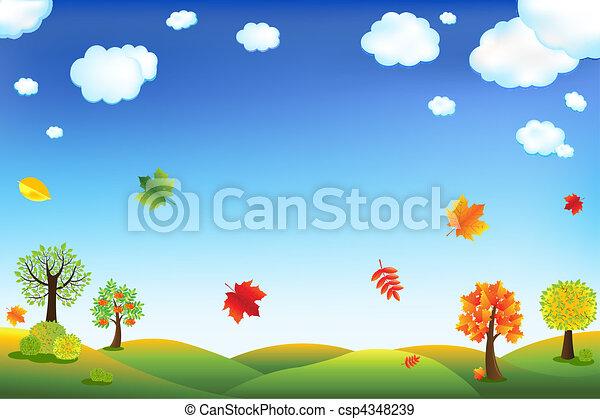 automne, dessin animé, paysage - csp4348239