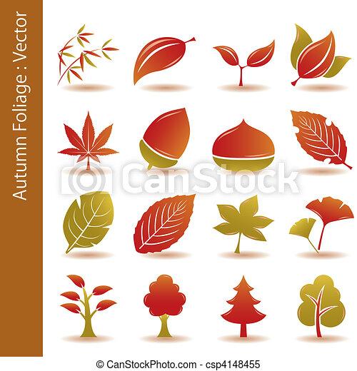 automne, ensemble, feuille, feuillage, icônes - csp4148455