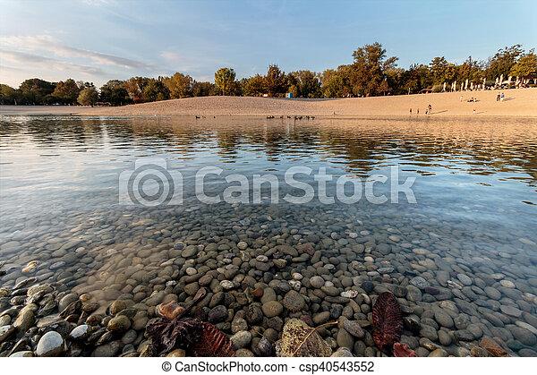 automne, ensoleillé, parc, lac, jour - csp40543552