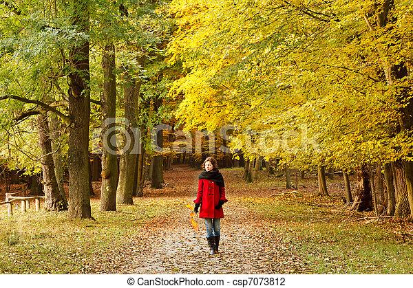 automne, femme, parc, jeune - csp7073812
