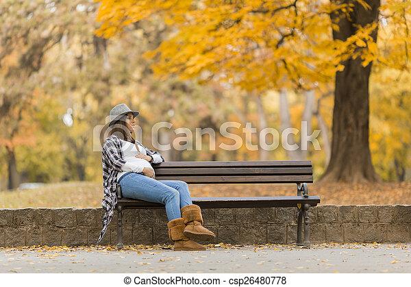 automne, femme, parc, jeune, pregnant - csp26480778