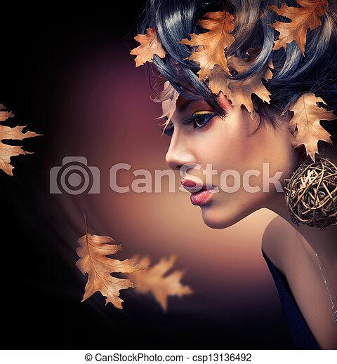 automne, femme, portrait., mode, automne - csp13136492