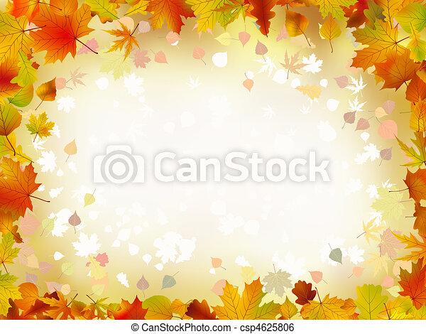 automne, frontière, feuilles, text., ton - csp4625806