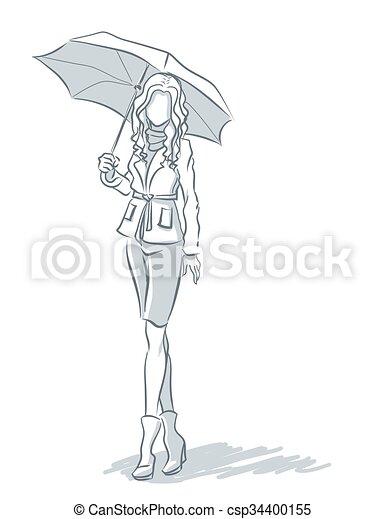automne, girl, parapluie, line-art, sous - csp34400155