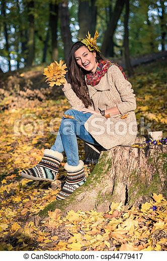 automne, girl, parc - csp44779417