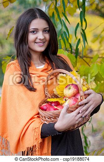 automne, girl, parc, jeune - csp19188074
