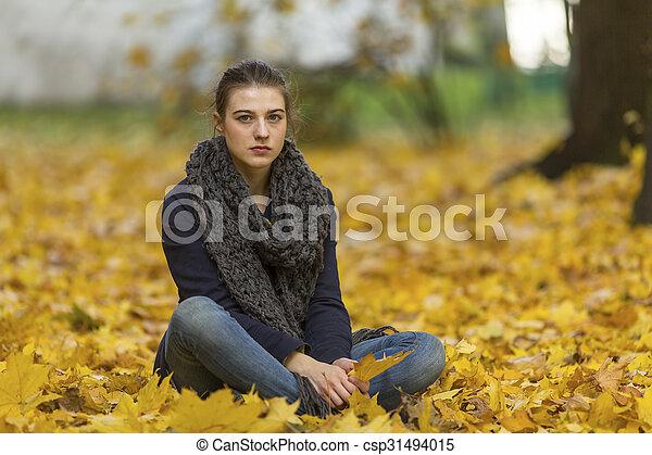 automne, girl, park., jeune - csp31494015