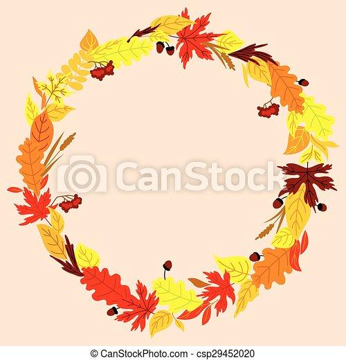 automne, herbes, cadre, glands, feuilles - csp29452020