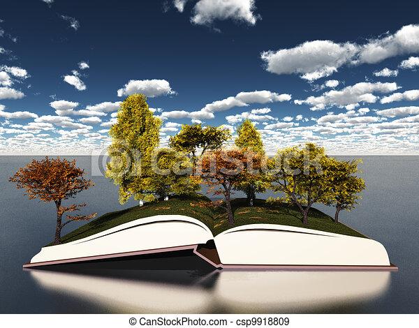 automne, livre, arbres - csp9918809