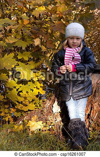 automne, mignon, girl, parc - csp16261007