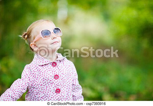 automne, mignon, girl, parc - csp7393916